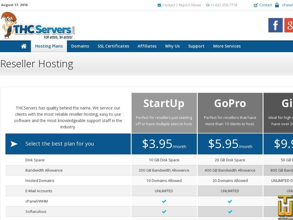 screenshot of StartUp from thcservers.com