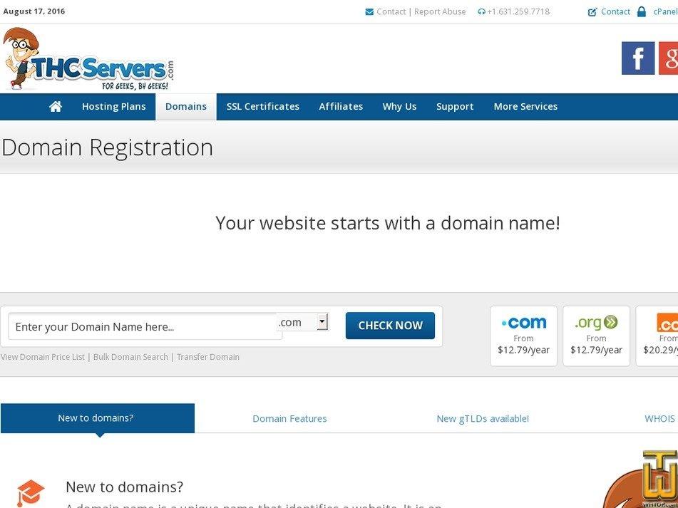 screenshot of .com from thcservers.com