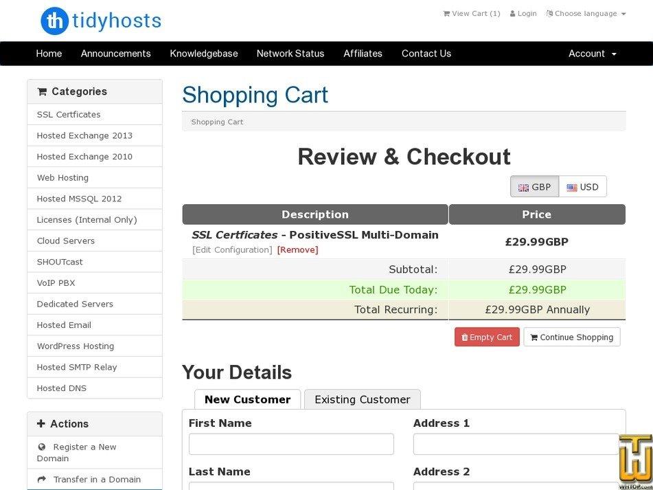 Screenshot of PositiveSSL Multi-Domain from tidyhosts.com