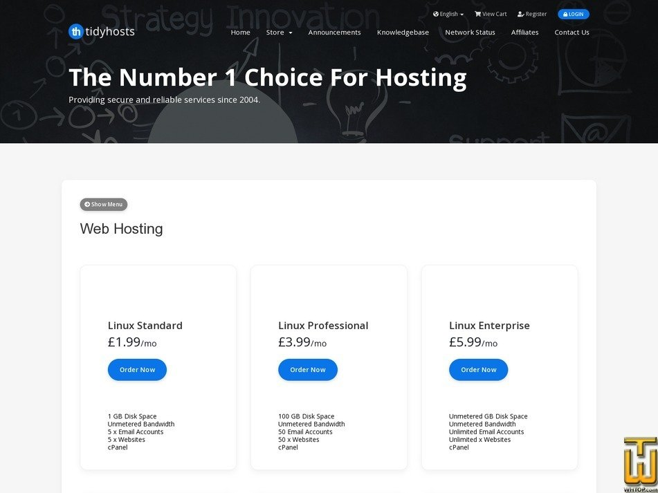 screenshot of Web Hosting Standard from tidyhosts.com