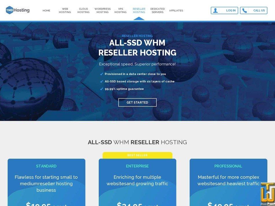 screenshot of Standard from tmdhosting.com
