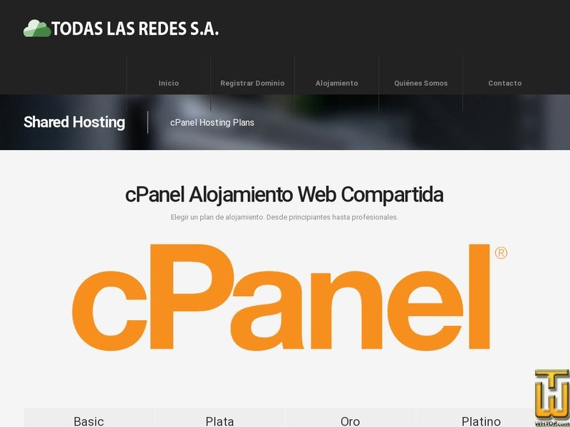 Screenshot of cPANEL WEB HOSTING PLATINO from todaslasredes.com