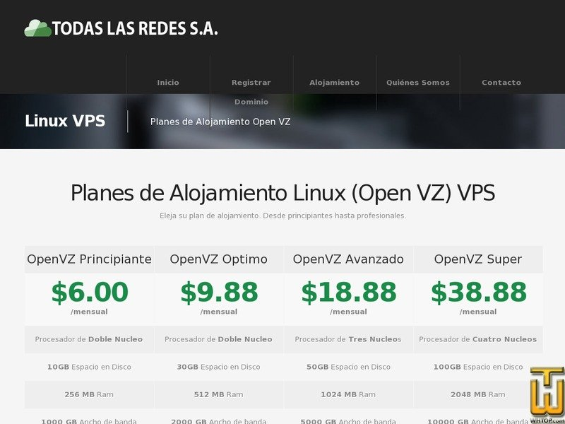Screenshot of Open VZ VPS PRINCIPIANTE from todaslasredes.com