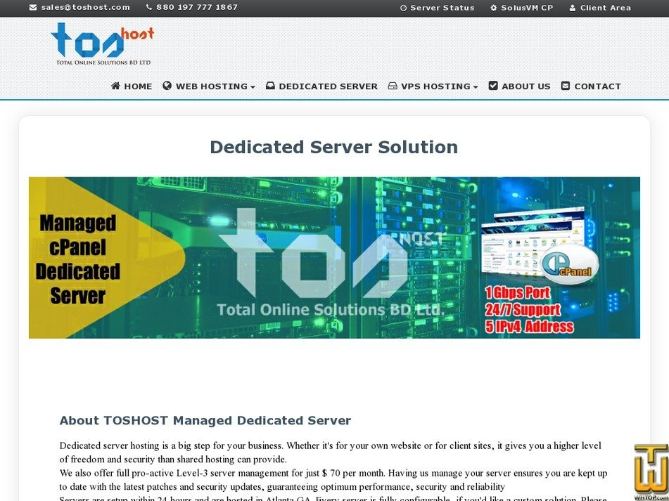 Screenshot of Managed Dedicated Server from toshost.com