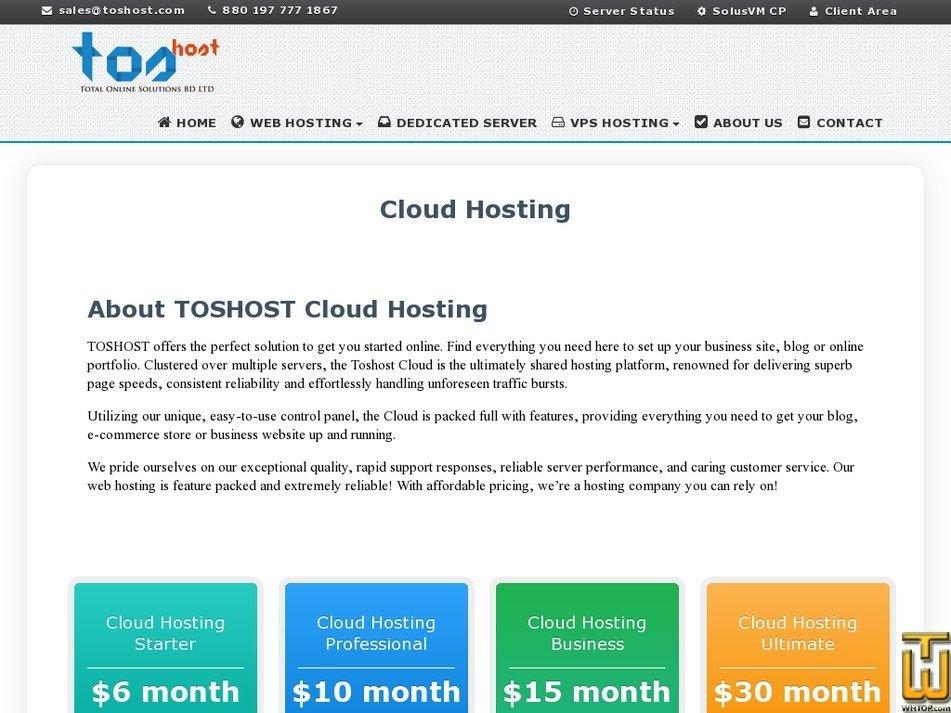 Screenshot of UK Cloud Hosting from toshost.com