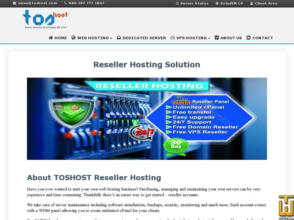 Screenshot of Managed Reseller Hosting from toshost.com