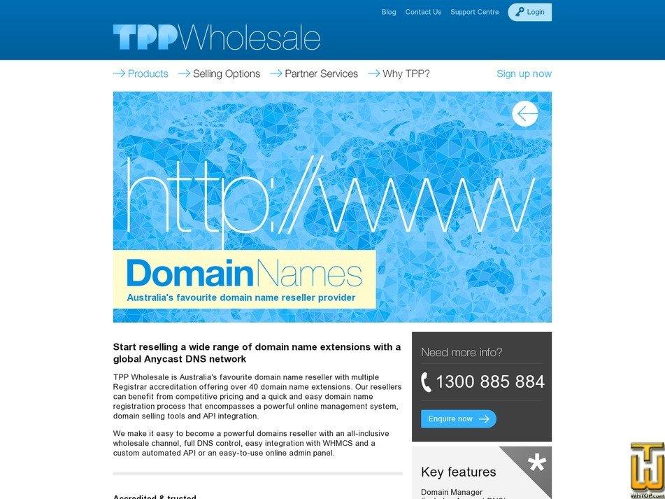 Screenshot of .com from tppwholesale.com.au