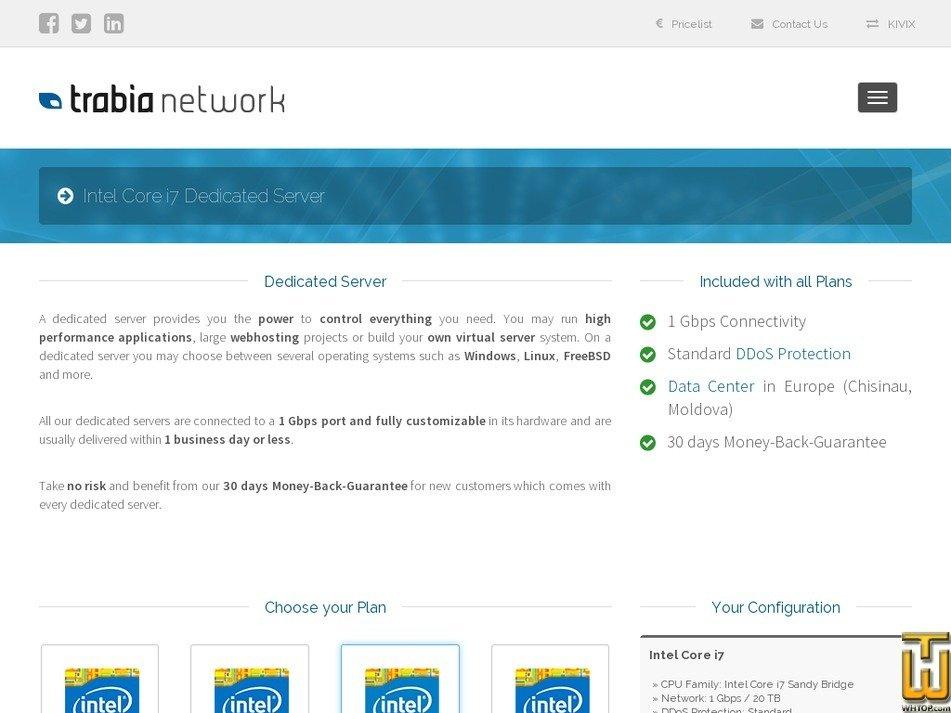 Screenshot of Intel Core i7 Skylake from trabia.com