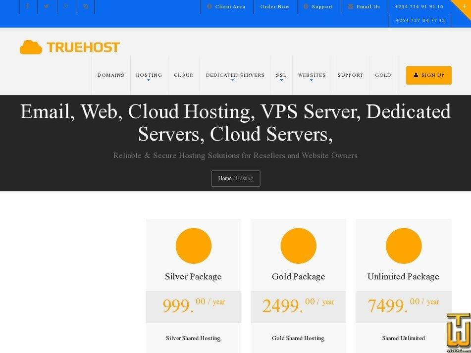 screenshot of Silver Package from truehost.co.ke
