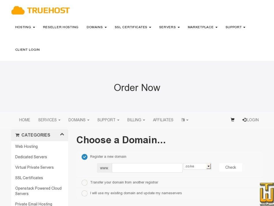 screenshot of Truehost Bronze Package from truehost.co.ke