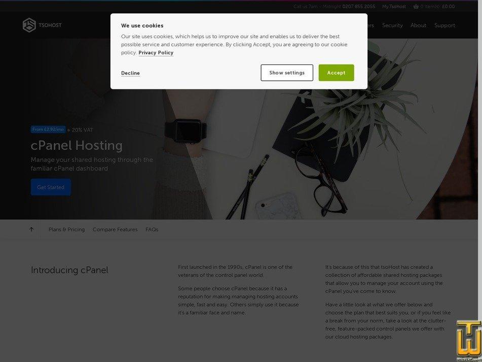 screenshot of Business cPanel Hosting from tsohost.com