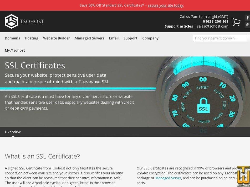 Screenshot of Standard SSL from tsohost.com