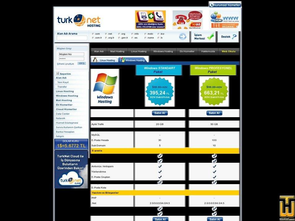 screenshot of Windows STANDART Paket from turk.net