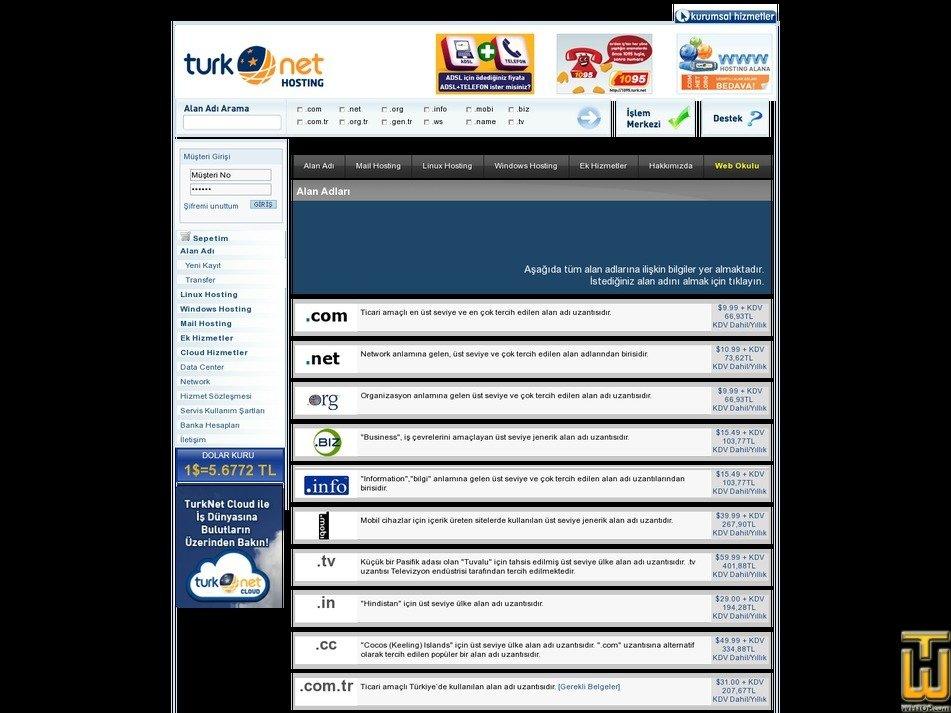 screenshot of .com from turk.net