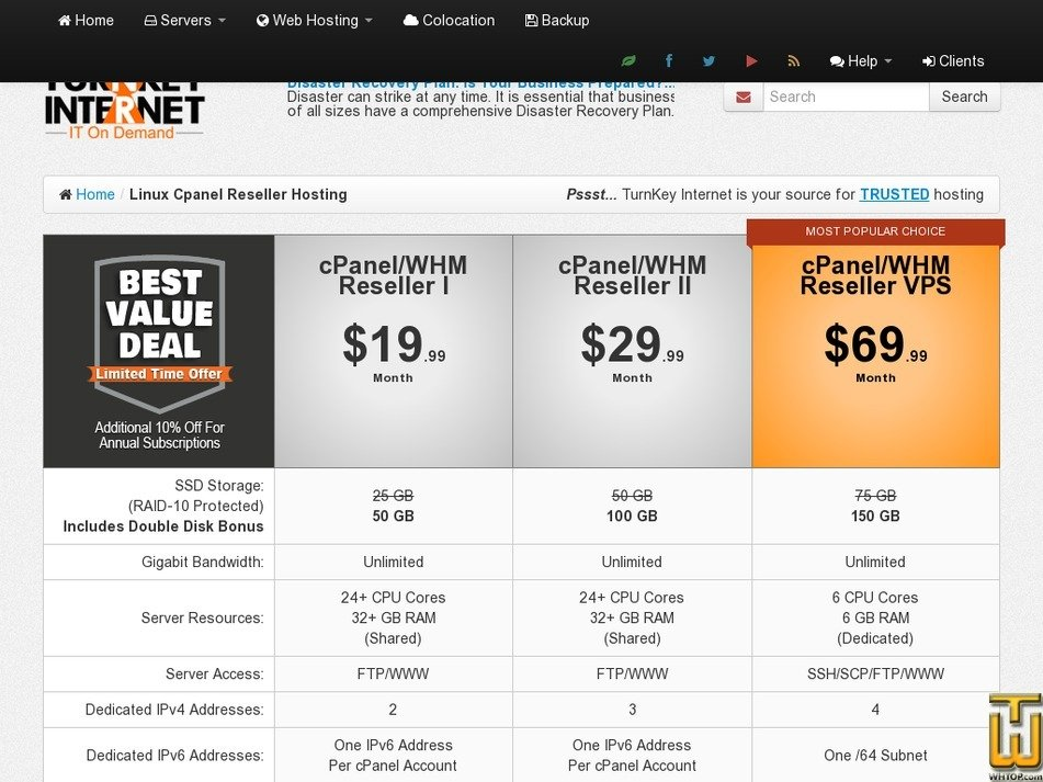 Screenshot of cPanel/WHM Reseller Dedicated from turnkeyinternet.net