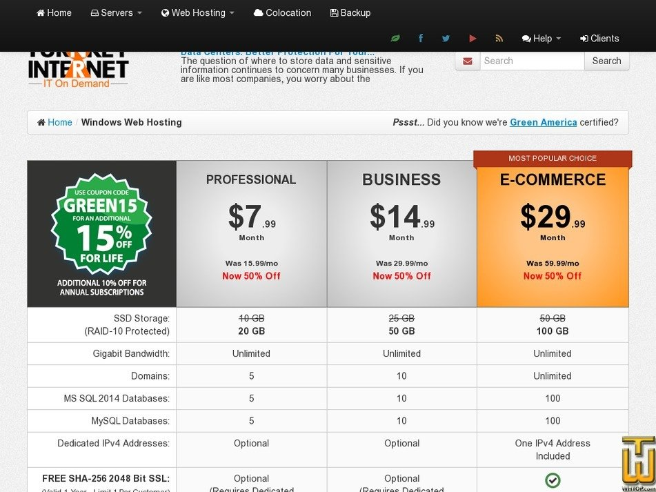 Screenshot of E-Commerce from turnkeyinternet.net
