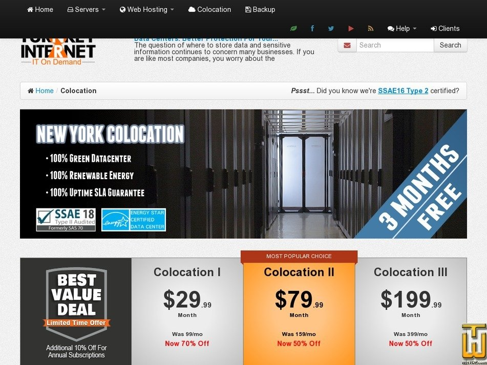 Screenshot of 4U, Colocation III - New York from turnkeyinternet.net