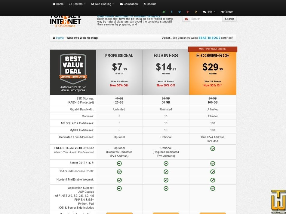 screenshot of Business from turnkeyinternet.net