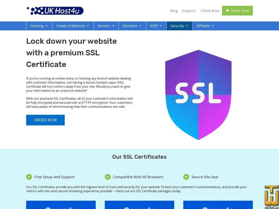 screenshot of Comodo EV SSL from ukhost4u.com
