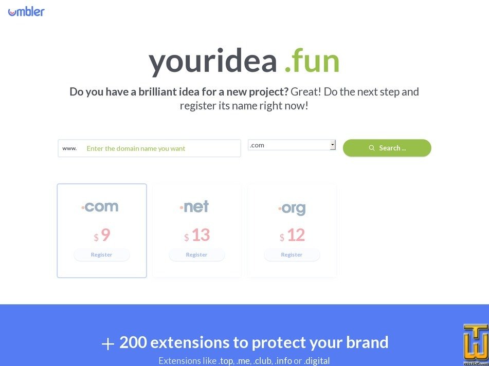 Screenshot of Domain .com from umbler.com