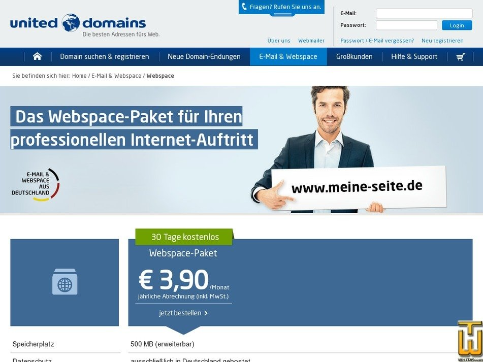 Screenshot of Webspace from united-domains.de