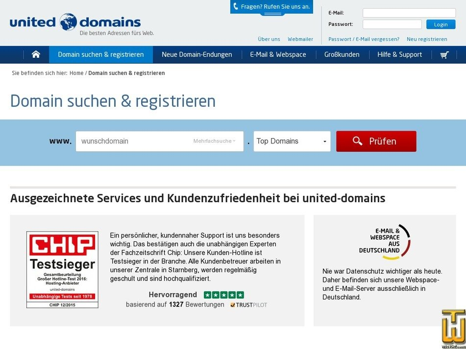 screenshot of .com from united-domains.de