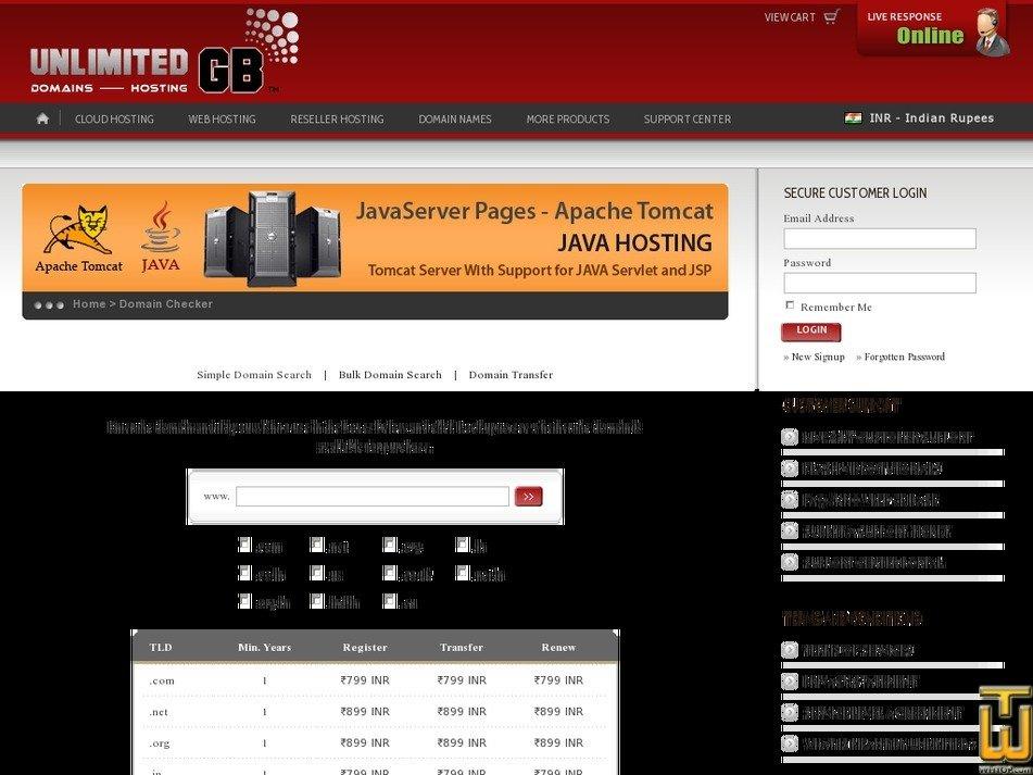 Screenshot of .com .in .us .co.uk .eu from unlimitedgb.com
