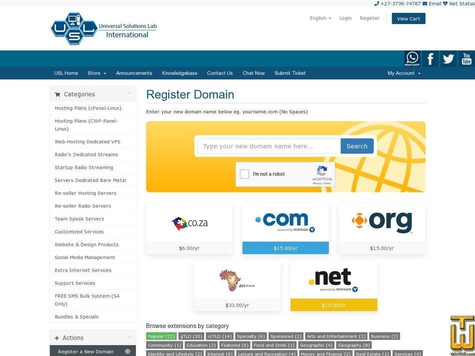 Screenshot of Co.Za from usl.website
