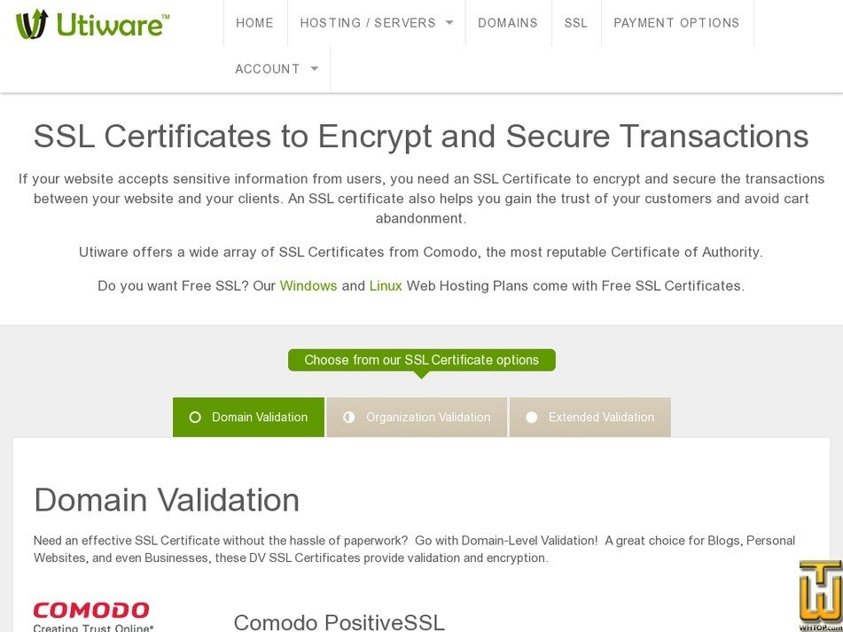 Comodo Positivessl From Utiware 63448 On Ssl Certificates