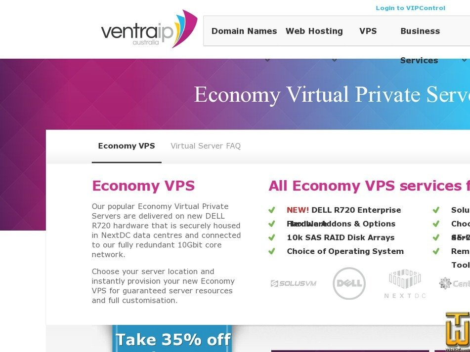 Screenshot of E-VPS PLUS from ventraip.com.au