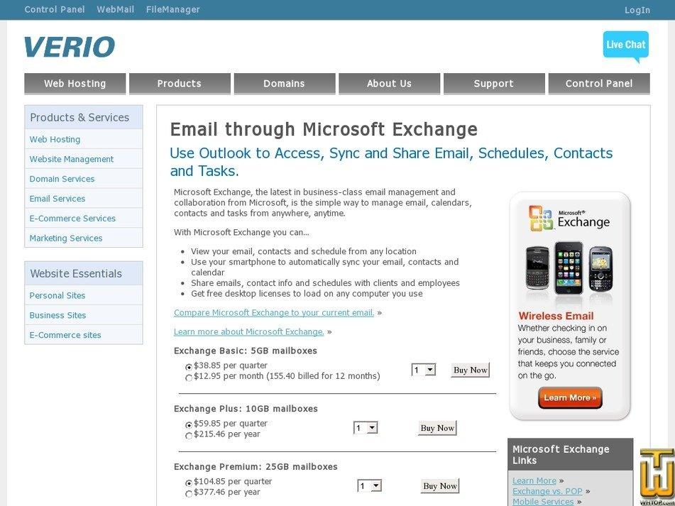 Screenshot of Exchange Basic from verio.com