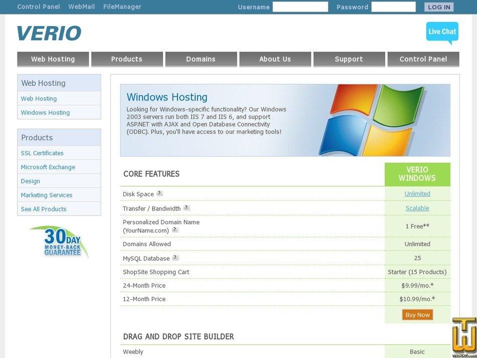 Screenshot of Verio Windows from verio.com