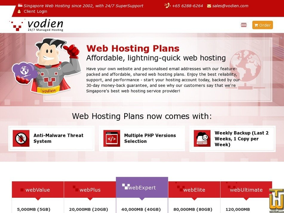 Screenshot of webValue from vodien.com