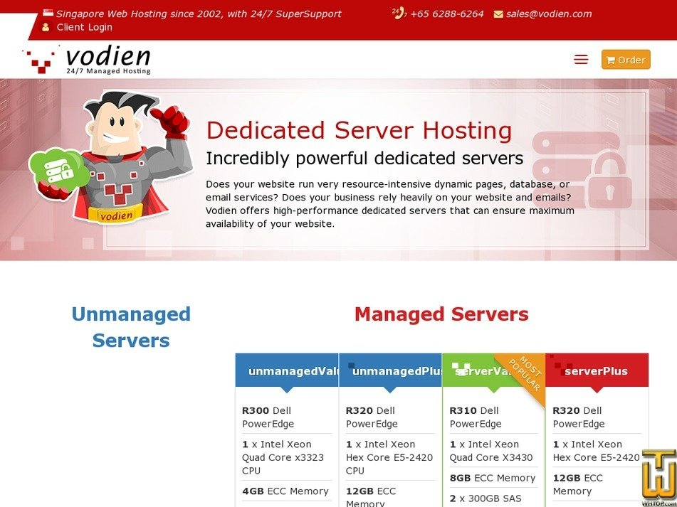 Screenshot of serverValue from vodien.com