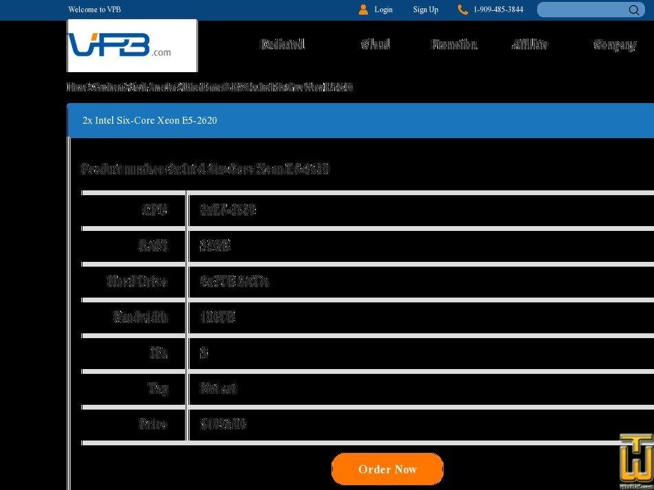 Screenshot of 2xE5-2620 from vpb.com