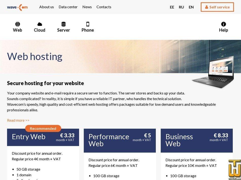 screenshot di Entry Web a partire dal wavecom.ee
