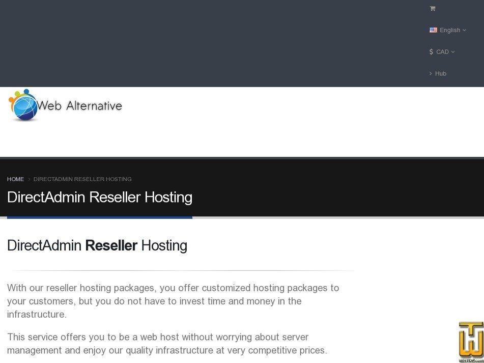 Screenshot of Reseller - DirectAdmin - Plan 100 from webalternative.net