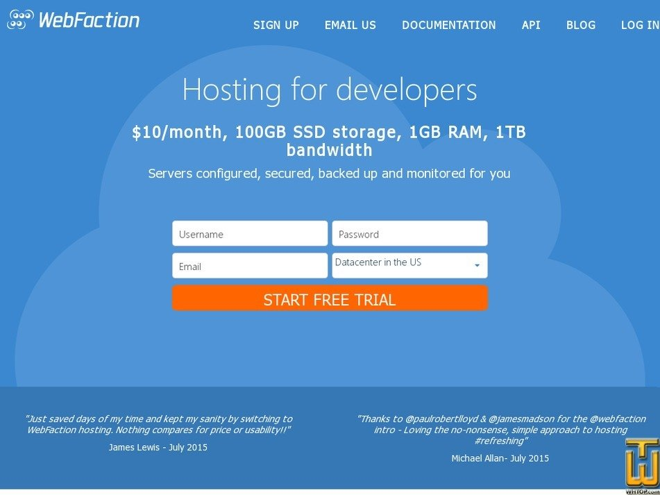 Screenshot of Shared 1GB from webfaction.com