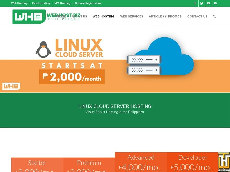 Screenshot of Linux Cloud Advanced from webhostbiz.com.ph
