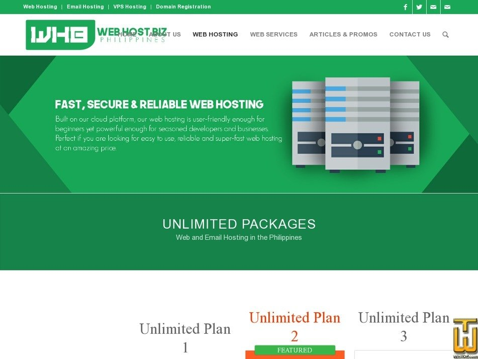 Screenshot of Unlimited Plan 1 from webhostbiz.com.ph