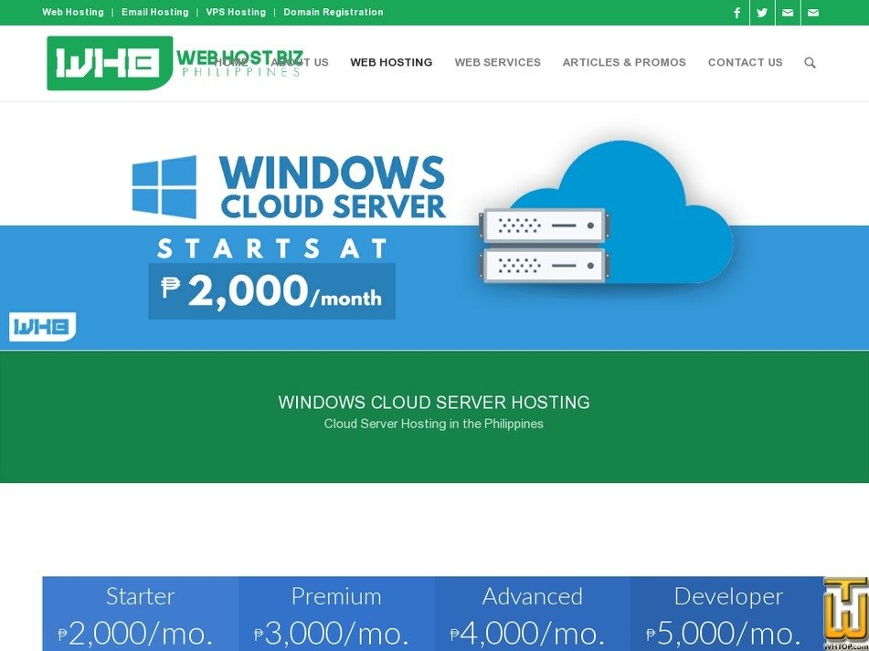 Screenshot of Windows Cloud Advanced from webhostbiz.com.ph