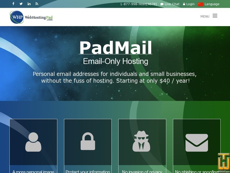 Screenshot of PadMail from webhostingpad.com