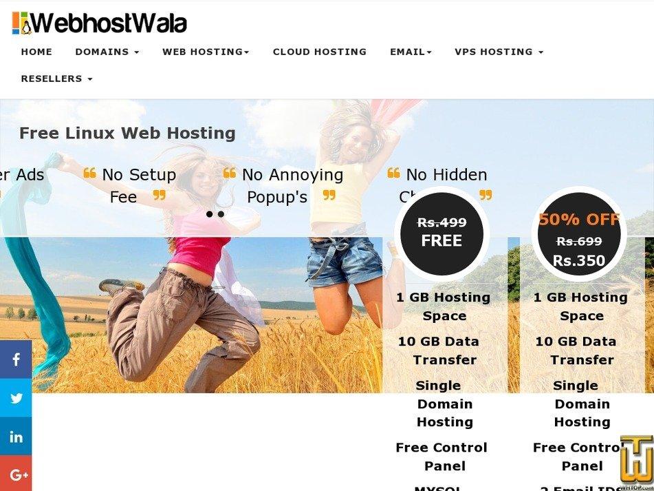 Screenshot of FREE WEB HOSTING INDIA PLAN from webhostwala.com