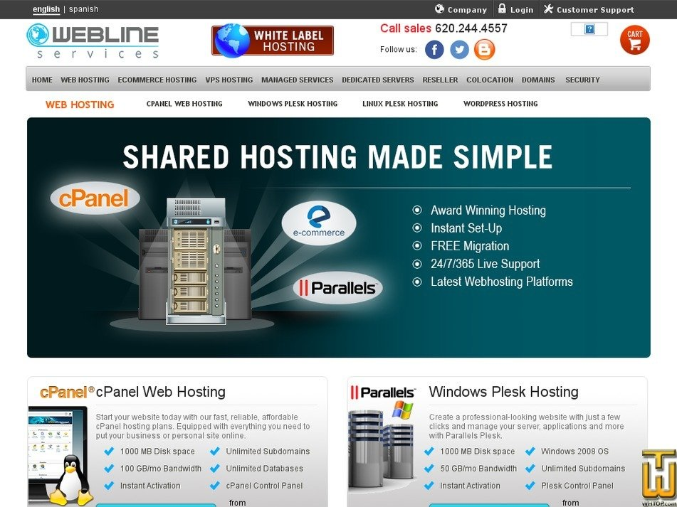 Screenshot of Cpanel Basic from webline-services.com