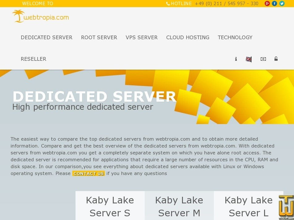 Screenshot of Kaby Lake Server S from webtropia.com