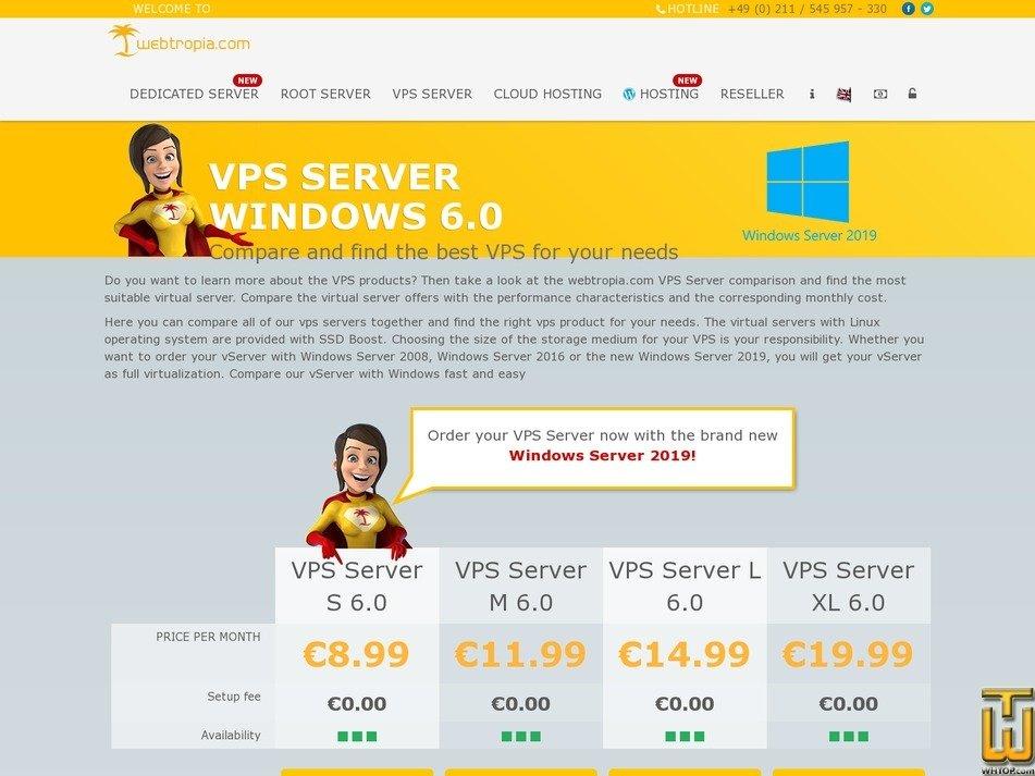 Screenshot of VPS Server S 6.0 Windows from webtropia.com