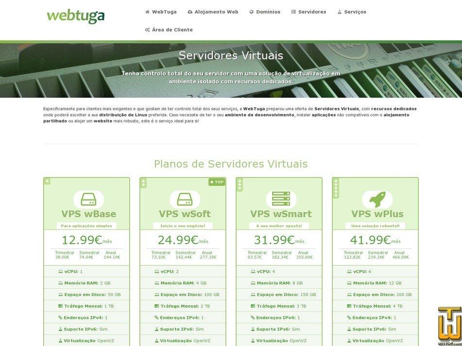 screenshot of VPS wSoft from webtuga.pt