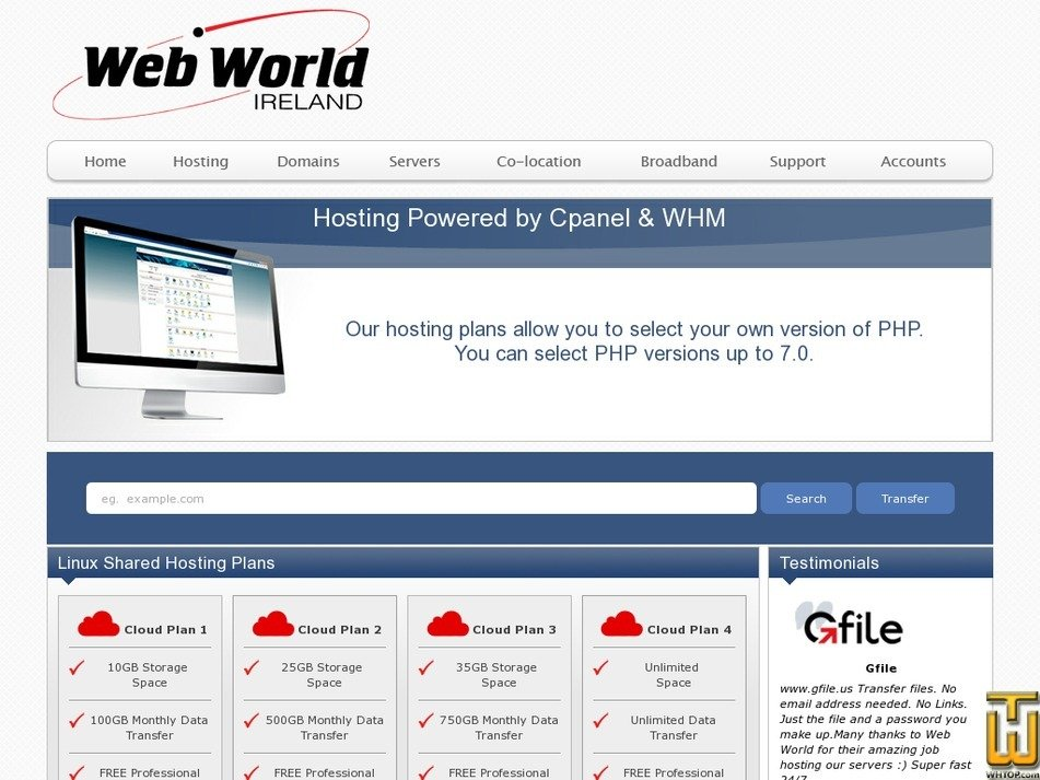 Screenshot of Cloud Plan 1 from webworld.ie