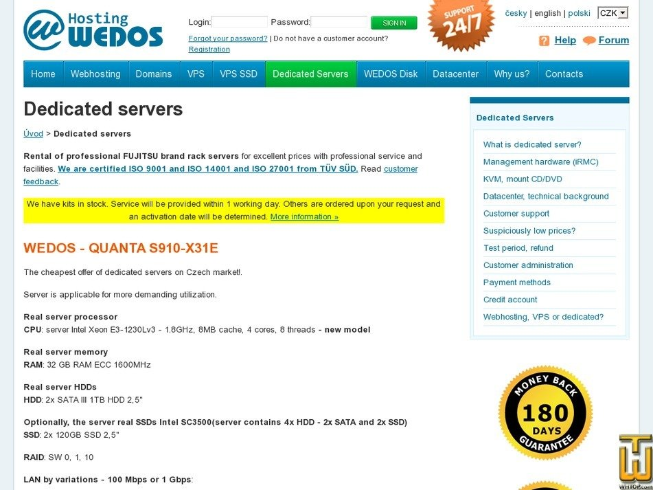 Screenshot of QUANTA S910-X31E from wedos.com