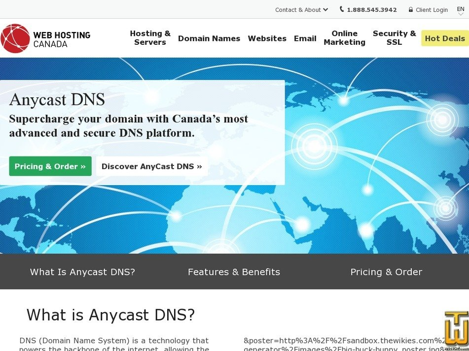Screenshot of Anycast DNS from whc.ca